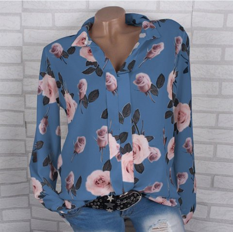 Plus Size Printed Floral Shirt Collar Long Sleeve Blouses