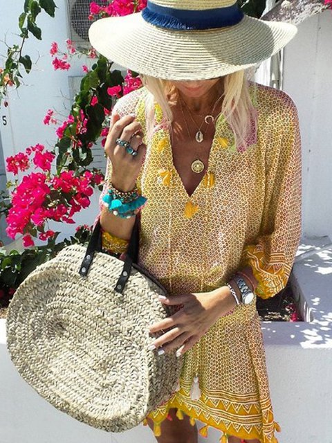 Summer V Neck 3/4 Sleeves Tassel-tie Dresses