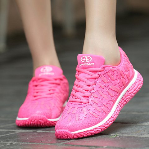 Womens Fluorescence Mesh Fabric Lace-Up Sneakers