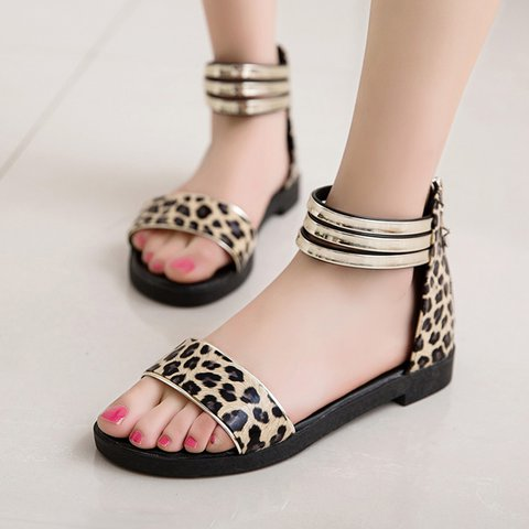 Womens Casual Zipper Summer Pu Sandals