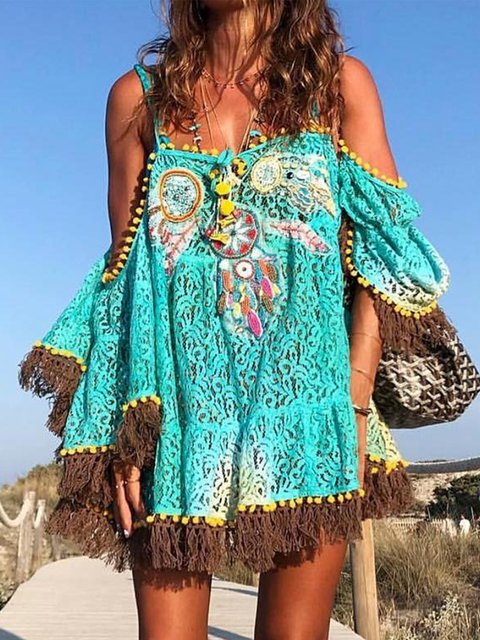 Off Shoulder Women Summer Dresses Shift Beach Boho Dresses