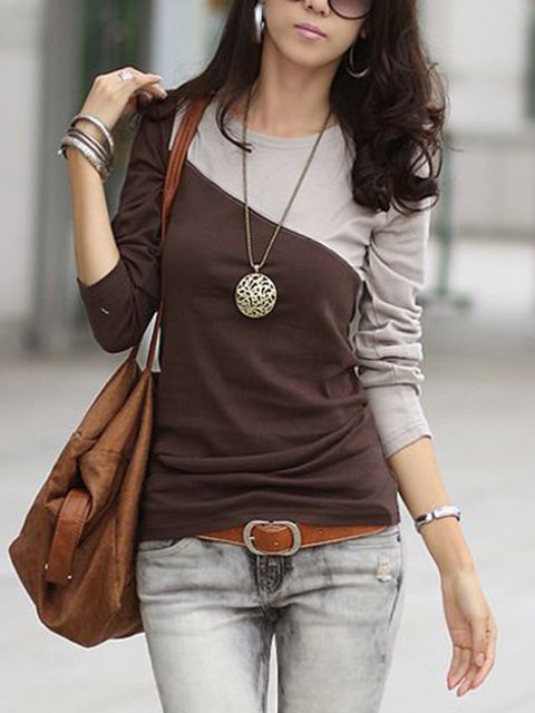 Cotton-Blend Crew Neck Long Sleeve Casual T-Shirts