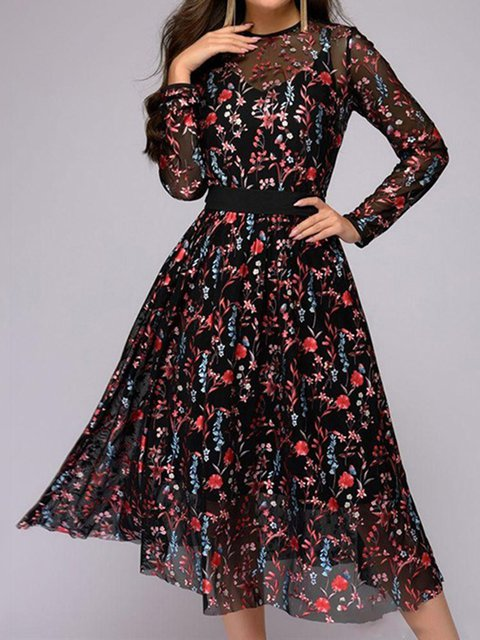 Crew Neck As Picture Women Spring Dresses Daily Floral-Print Dresses