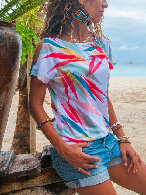 Round Neck Short Sleeve Printed T-Shirts