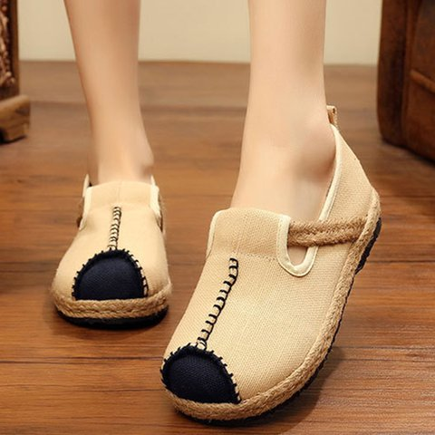 Linen Color Blocking Flat Slip On Loafers