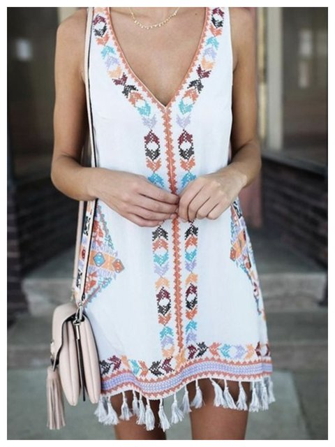 Summer Dress Sleeveless Fringed Hem Tribal Dresses