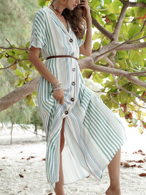 Shirt Collar Women Summer Dresses Shift Daily Casual Striped Dresses