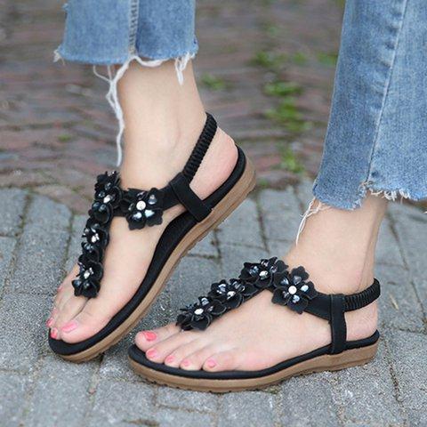 Women's Flower PU Flat Heel Casual Elastic Band Sandals