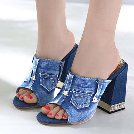 4886f881a76a Women Denim Chunky Heel Slippers Casual Comfort Peep Toe Shoes -  JustFashionNow.com