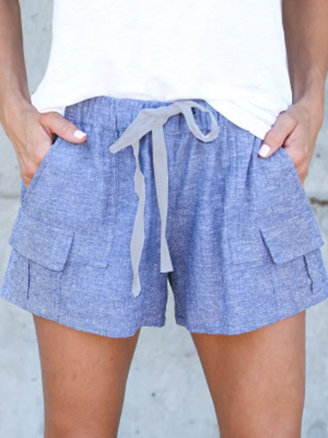 Blue Summer Casual Daily Loose Short With Pockets