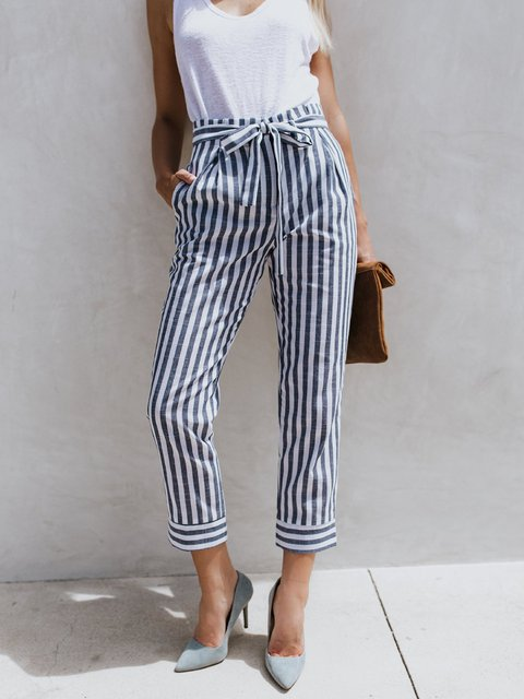High-waisted Women's Stripes Printed Pants