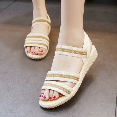 Women Stripes PU Casual Elastic Band Sandals