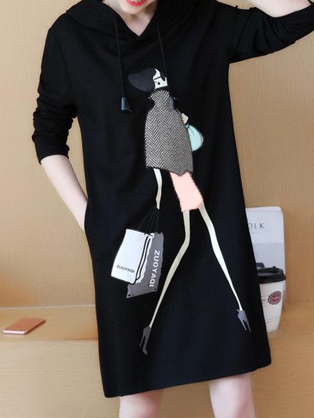 Hoodie Black Shift Women Daily Casual Cotton  Casual Dress