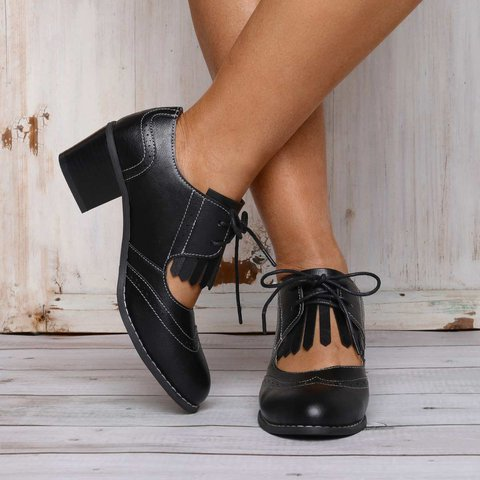 Womens Chunky Heel Lace-Up Pu All Season Casual Loafers