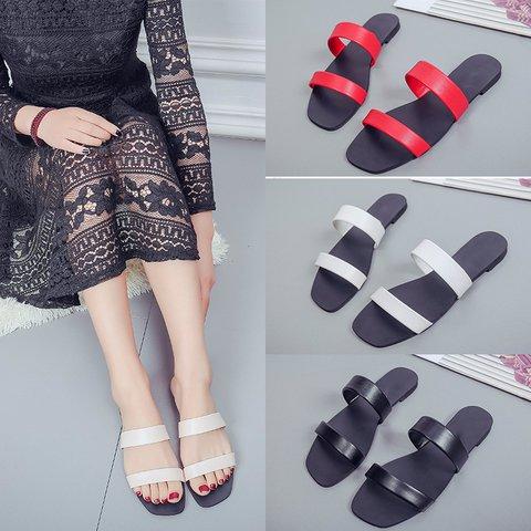 ab46e14c298c Justfashionnow Women s Slippers Flat Heel Open Toe Beige Casual Slippers