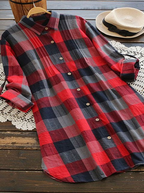 Plaids Shirt Collar Casual Shirts