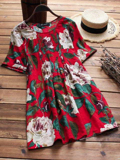 Women Linen Floral Dresses