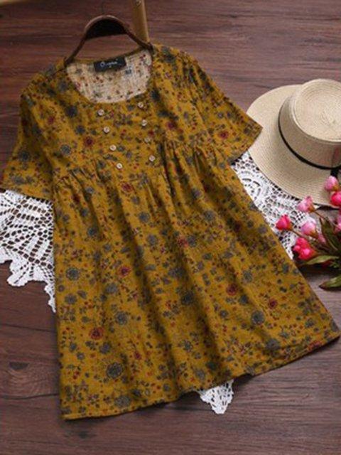 Short Sleeve Floral Blouses