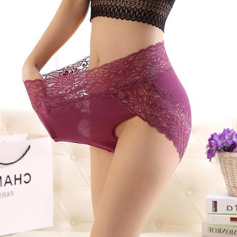 Plus Size Lace High Waist Belly Control Seamless Briefs Panties