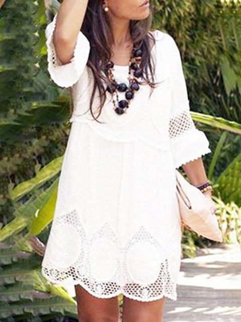 Plus Size Women's White Lace Eyelet Summer Dresses