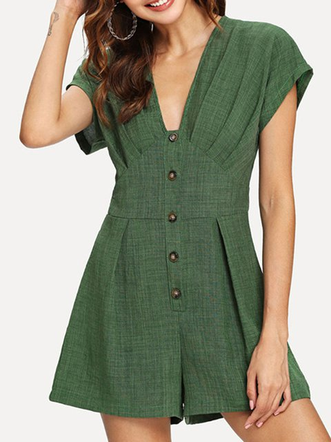 Cape Sleeve Button Shift Rompers