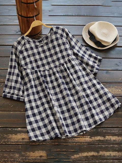 Checkered/plaid Casual Loose Blouses