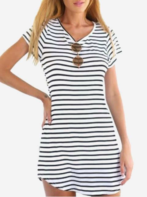 Women Summer A-Line Striped Casual T-shirt &Mini Beach Dresses