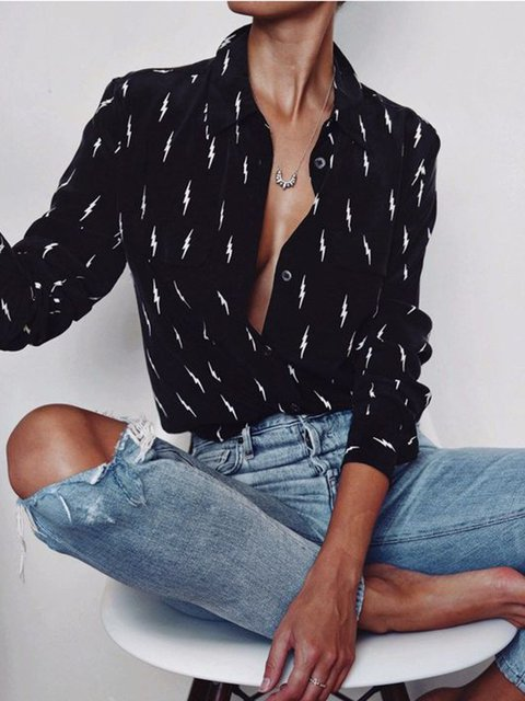 Elegant Black Lightning Printed Casual Blouses With Pockets