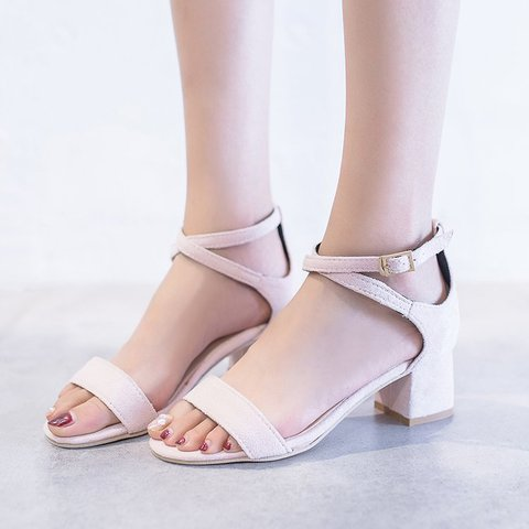 Women's Chunky Heel Summer Flocking Sandals