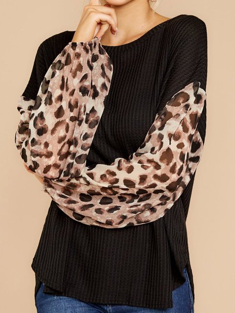 Leopard Floral Print Simple & Basic Pullover T-Shirts