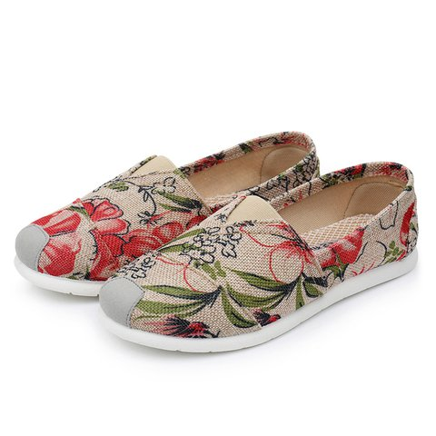Casual Flat Heel Shoes Floral Print Lightweight Slip-On Flats