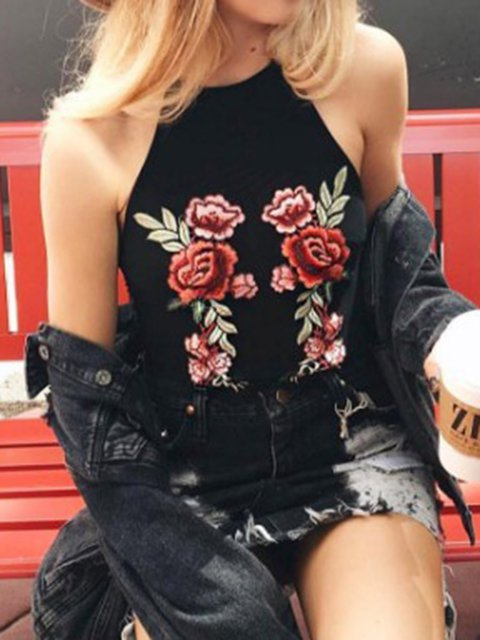Sleeveless Halter Floral Embroidered Tanks Camis