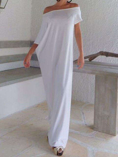 Off Shoulder Women Summer Dresses Cocoon Cotton-Blend Plain Dresses