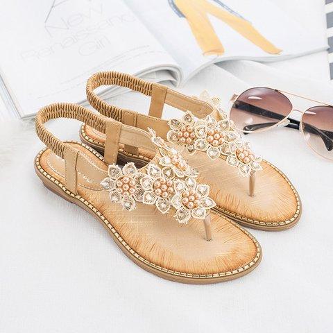 Flower Rhinestone Clip Toe Bohemia Sandals