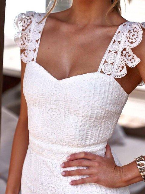 V Neck White Women Prom Dresses Daily Embroidered Dresses