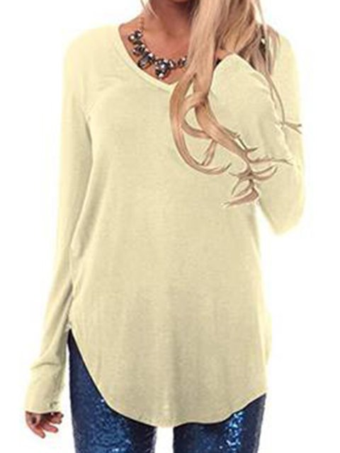 Casual Long Sleeve Pure Color Simple & Basic T-Shirts