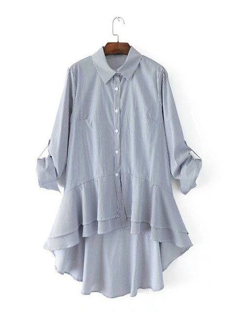 Stripe Casual Swallow-tailed Long Shirts & Blouses