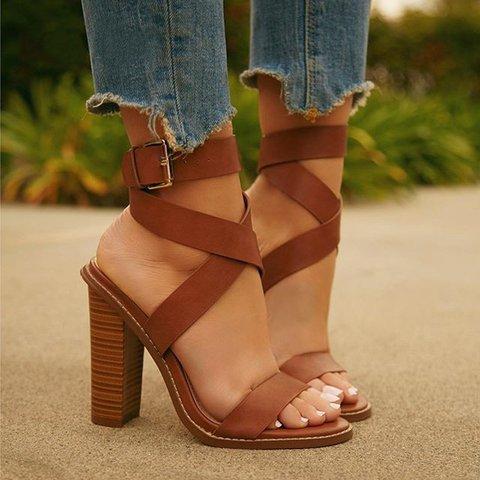 Women's Shoes High Heel Adjustable Buckle Open Toe Vintage Sandals