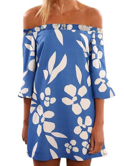 Off Shoulder Blue Women Summer Dresses Shift Beach Floral Dresses