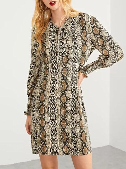 Women's Daily Casual Elegant Dresses In Serpentine Printed/Dyed