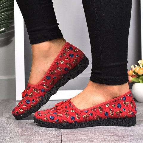 5b875f39054 Justfashionnow Women s Flats Red Round Toe Floral Print Vintage Flats