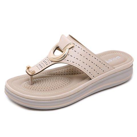 Women Flip-flops Beach Slippers Daily Metal Flat Shoes