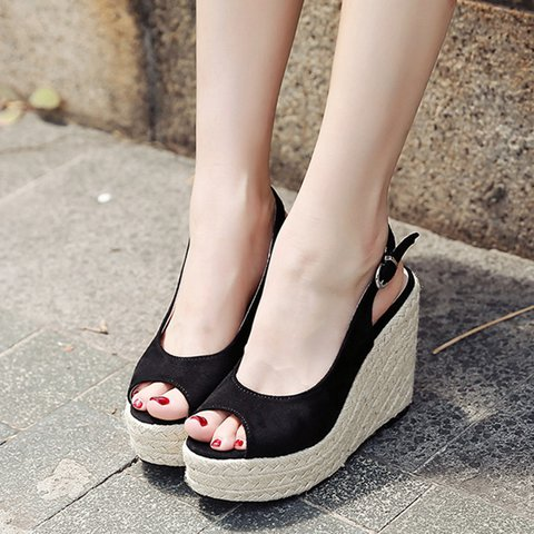 d235a8c5767a Justfashionnow Women s Creepers   Wedges Wedge Heel Black Peep Toe ...