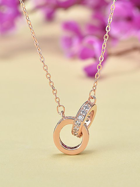 S925 Silver Double Ring Clavicle Chain Valentine Necklace