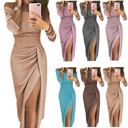 Plus Size Long Sleeve Slit Off Shoulder Slit Maxi Dress