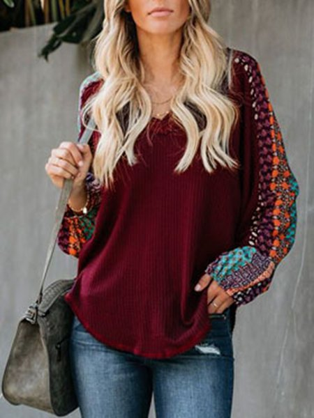Claret_Red Sexy Printed/dyed V Neck Cotton-Blend Jumper Sweaters