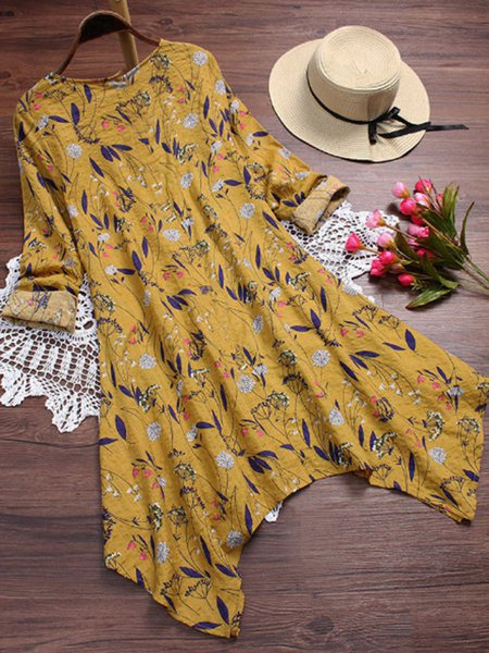 Swing Women Long Sleeve Casual Printed Floral Casual Dress