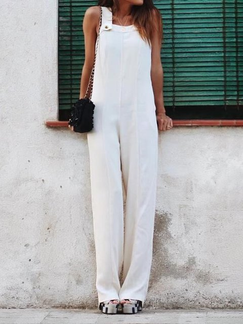 Pure Color Shift Sleeveless Jumpsuits Rompers
