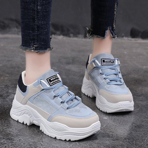 Women Athletic Splicing Lace Up Sneakers Platform Shoes