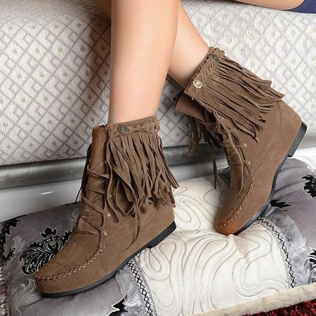 Womens Retro Winter Western Fringe Moccasin Ankle Booties Lace Up Cowboy
